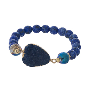 Blue natural stone beaded stretch bracelet with a faux druzy stone focal.