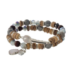 Natural stone and wooden, two piece, stretch bracelet set with a key focal and a faux druzy charm.