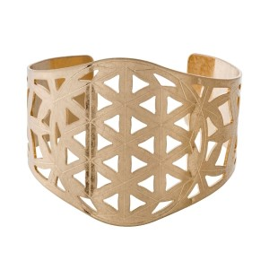"Metal cuff bracelet with laser cut triangle shapes. Approximately 2"" in width."
