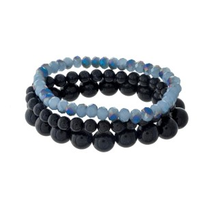 Four piece, stretch bracelet set with natural stone and faceted beads.