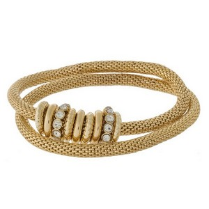Metal mesh, two piece stretch bracelet set with clear rhinestone accents.