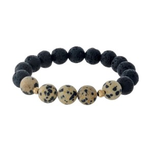 Black lava bead and natural stone beaded stretch bracelet.