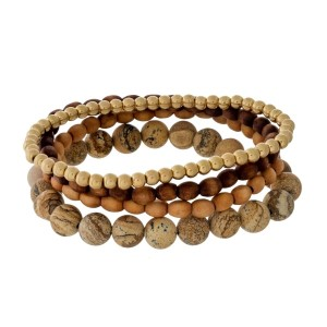 Wooden and natural stone, three piece, stretch bracelet set.
