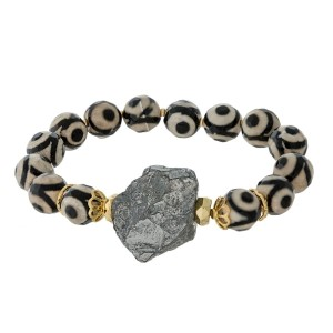 Natural stone beaded stretch bracelet with a pyrite rock focal. Handmade in the USA.