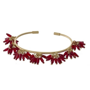Dainty cuff bracelet with beaded fringe accents.