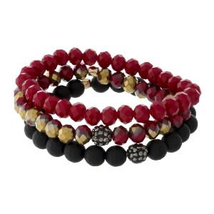 Three piece stretch bracelet set with faceted, pave, and textured beads.