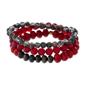 Three piece, stretch bracelet set with ombre faceted beads.