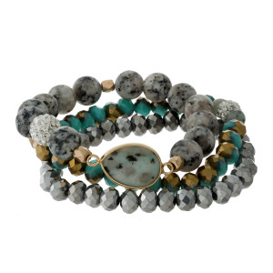 Three piece, stretch bracelet set with turquoise faceted and sesame jasper natural stone beads.