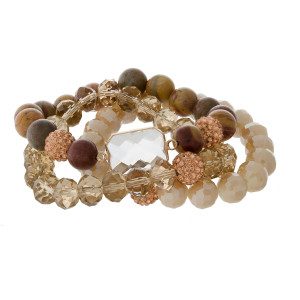 Three piece, stretch bracelet set with natural stone and faceted beads.