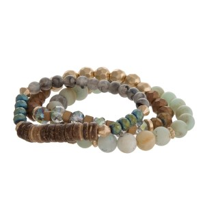 Natural stone, gold tone and wooden beaded stretch bracelet set.