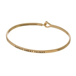 """Metal bracelet with engraved message, """"Expect Great Things."""""""