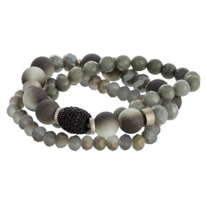 Stretch bracelet set with natural stone and faceted beads.