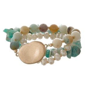 Stretch bracelet set with gold focal.
