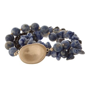 Three stretch bracelet set with natural and faceted beads.