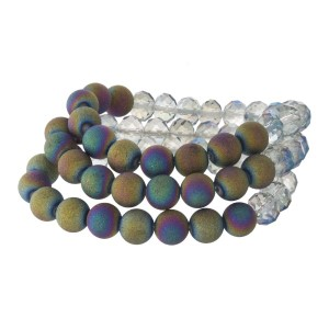 Stretch bracelet set with faceted and matte beads.