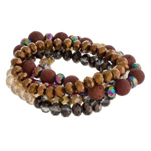 Faceted beaded stretch bracelet set.