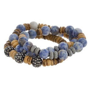 Natural stone beaded stretch bracelet set.