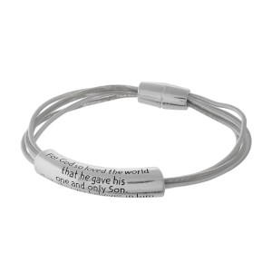 Magnetic bracelet stamped with John 3:16.