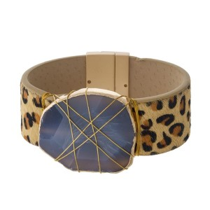 Magnetic bracelet with animal print band and wire wrapped natural stone.