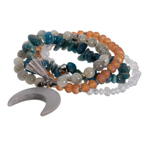 Boho beaded stretch bracelet with horn detail.