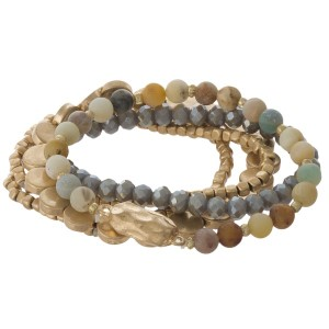 Natural stone and gold beaded bracelet set.