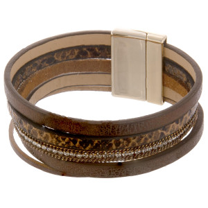 "Multi strand leather bracelet with animal print and magnetic closure. Approximate 8"" in length."