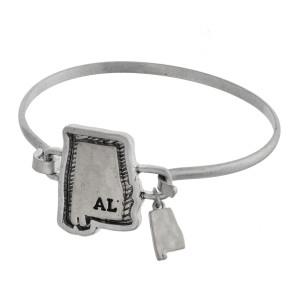 Metal bracelet with Alabama focal and charm.