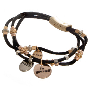"Faux leather bracelet with bead detail. ""Have Faith in Yourself"" Approximate 4"" in length."
