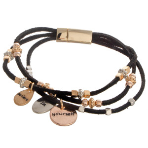 "Faux leather bracelet with bead detail. ""Believe in Yourself"" Approximate 4"" in length."