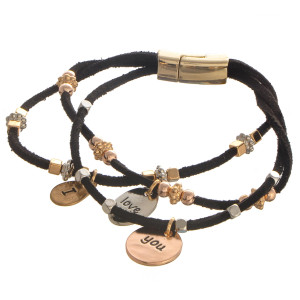 "Faux leather bracelet with beaded detail and charms that read, ""I Love You."" Approximately 4"" in length."