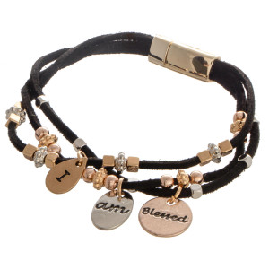 """Faux leather bracelet with bead detail. """"I am Blessed"""" Approximate 4"""" in length."""