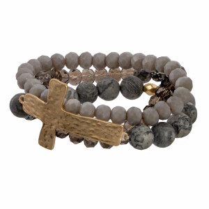 Faceted and natural stone bead bracelet with cross focal.