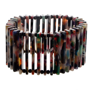 """Acetate stretch bracelet. Approximate 3"""" in length."""