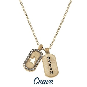 """Gold tone necklace with mini dog tag styles charms stamped with Dream. Approximately 16"""" in length with a 1/2"""" charm."""