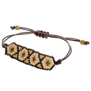 """Gorgeous light weight seed beaded necklace. approximate 3"""" in length with adjustable string located in back."""