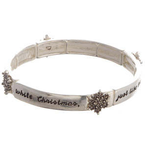 "Silver bracelet with snowflake detail.I am dreaming of a white Christmas, Just like the ones I used to know. Approximate 3"" in length."