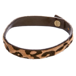 "Gorgeous animal printed leather bracelet. Approximate 3"" in diameter."
