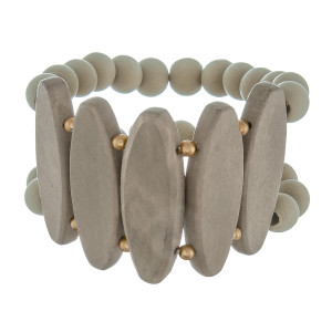 """Stretch wood beaded bracelet. Approximate 7"""" in length."""