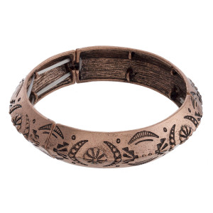 "Gorgeous metal bracelet with sea engraved details. Approximate 2"" in diameter."