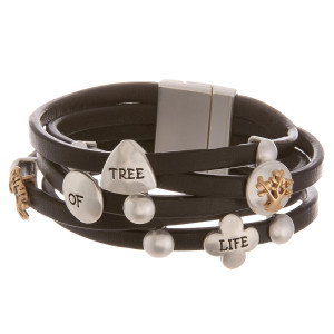 """Leather bracelet with inspirational message """" Tree of life ."""" Approximate 8"""" in length."""