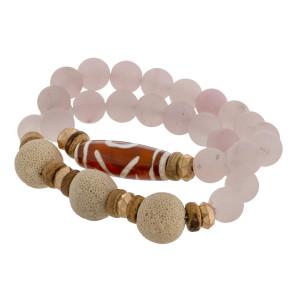"Multi strand natural stone beaded bracelet. Approximate 6"" in length."