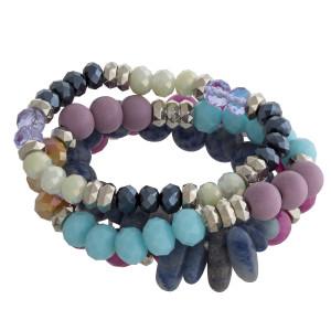"Multi strand and color stretch bracelet natural stone and beads. Approximate 6"" in length."