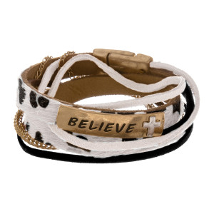 "Metal leather 'Believe' message leopard magnetic bracelet. Approximate 8"" in length."
