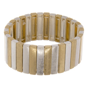 """Two tone color block pinstripe stretch bracelet. Approximately 3"""" in diameter unstretched. Fits up to a 6"""" wrist."""