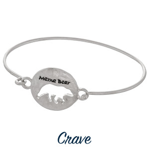 """Gorgeous """"Mama Bear"""" bracelet with Mama bear cut out. Approximate 2.5 in diameter."""