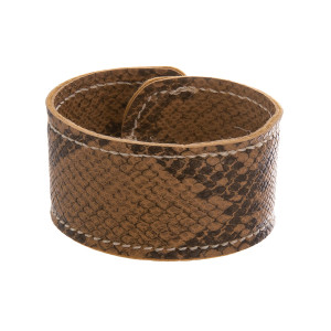"Leather snakeskin print snap bracelet. Approximate 8.5"" in length."