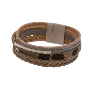 """Leather animal print multi band magnetic bracelet. Approximate 8"""" in length."""