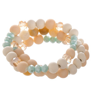 Stretch bead bracelet set of 3 featuring wood, glass, and natural stone beads.