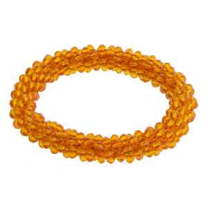 """Orange beaded stretch bracelet. Approximately 2.5"""" in diameter. Fits up to a 5"""" wrist."""