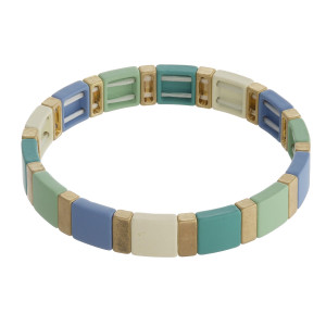 "Color block lego stretch bracelet. Approximately 3"" in diameter unstretched. Fits up to a 6"" wrist."